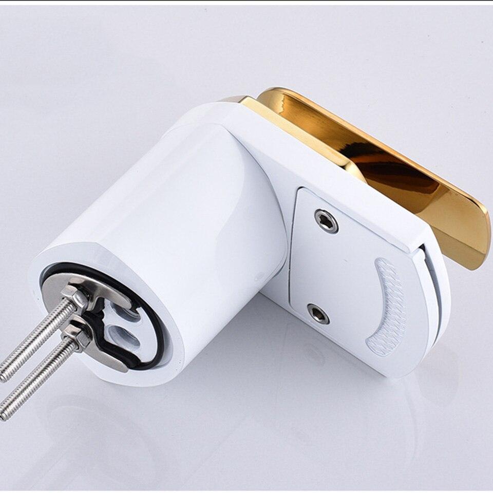 Новый фарфоровый белый кран с золотой ручкой, Твердый латунный кран, кран на бортике, смеситель для умывальника, кран с водопадом, бесплатна...