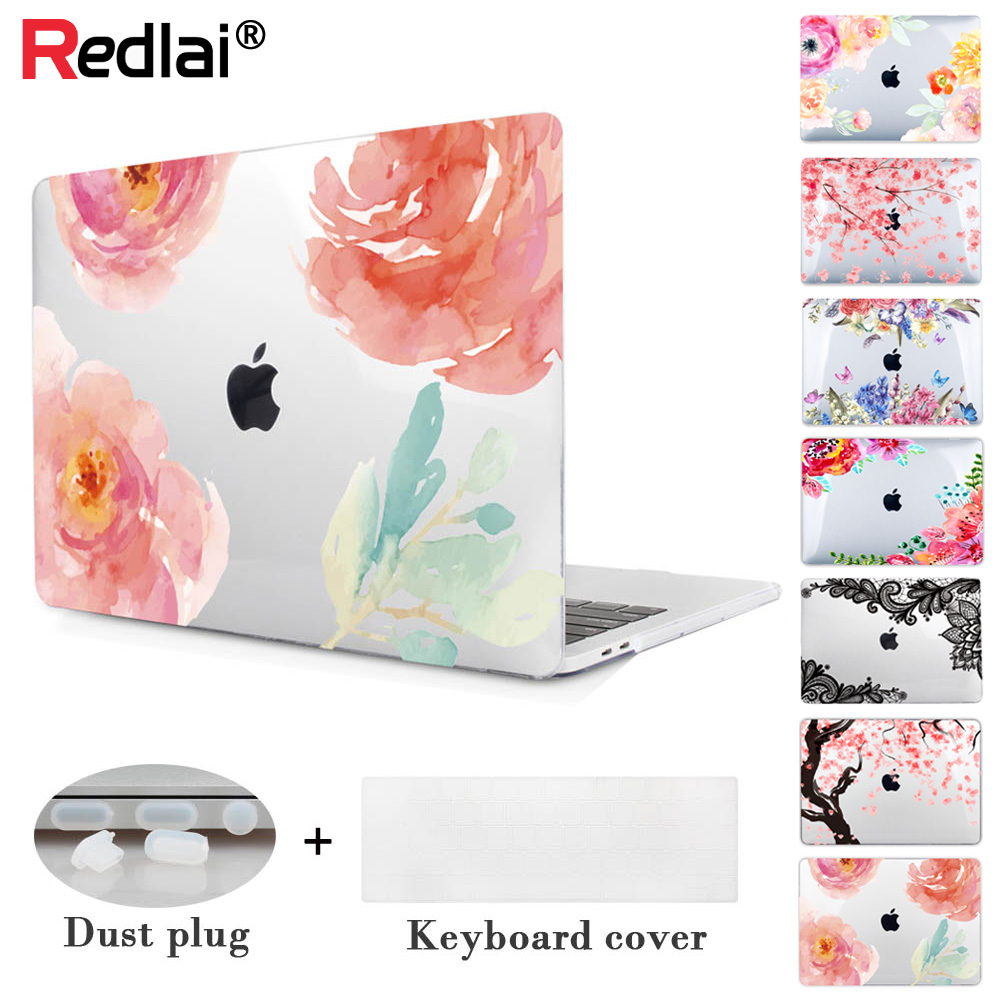 Redlai Rose & Floral ноутбук қалтасының корпусы Apple Macbook Air үшін 13,3 дюйм Pro 15,4 дюйм Retina 12 дюйм жаңа Macbook 2018 үшін