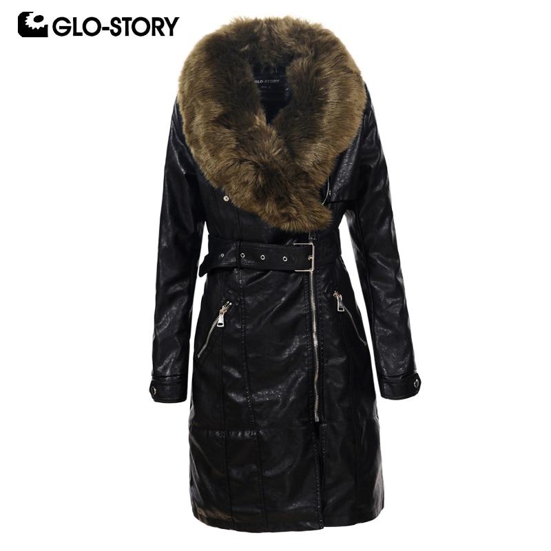 GLO STORY 2018 Women Faux Fur Collar Winter Long Leather Coat Women Fashion Thick Padded Jacket