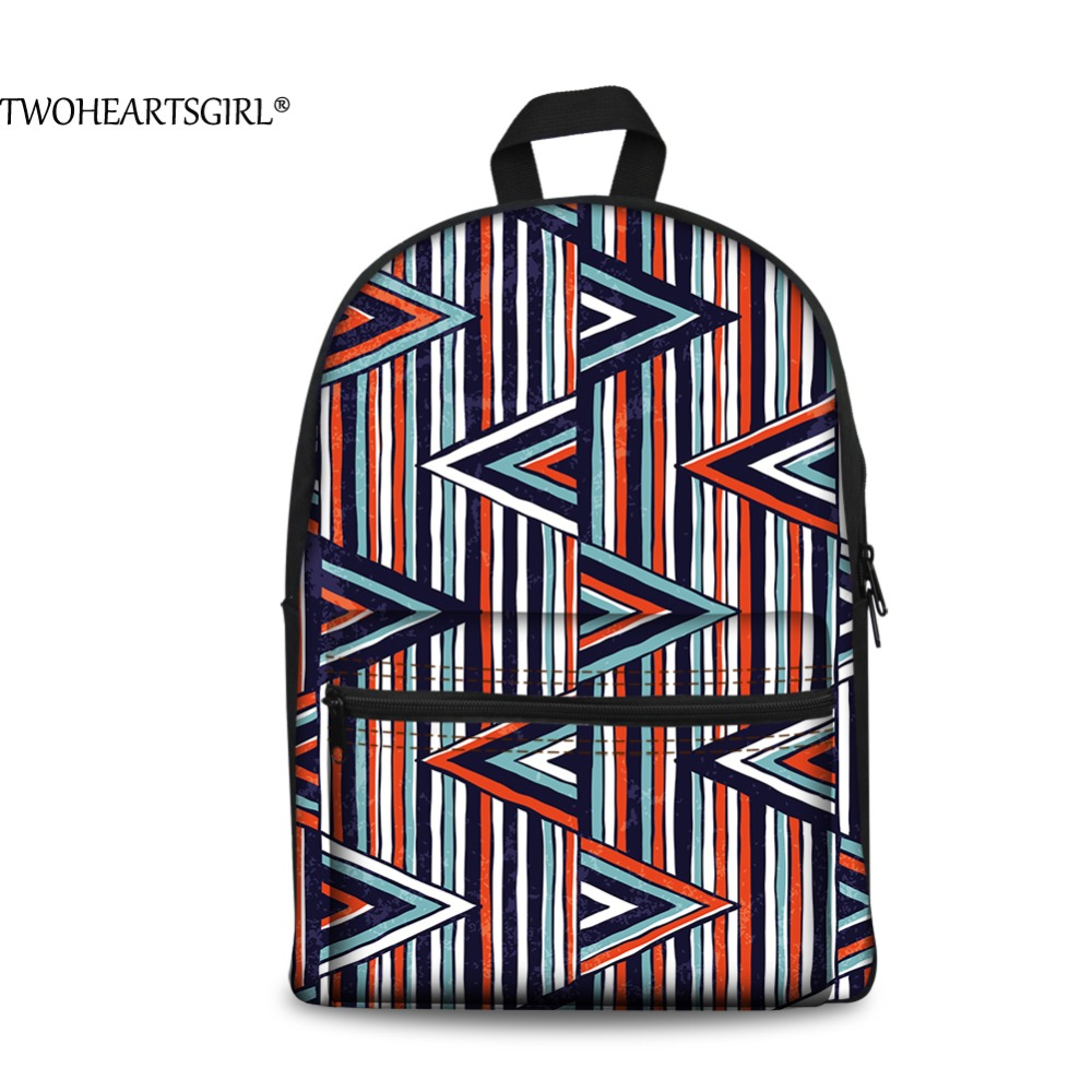 TWOHEARTSGIRL Fresh Geometric 3D Printing Canvas Backpack for Women Striped Fruit Travel Rucksack Female School Shoulder Backbag