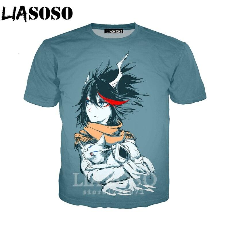LIASOSO verano nueva moda hombres mujeres sudadera 3D estampado Anime KILL la KILL manga corta Camiseta Casual Harajuku pulóver a140-2