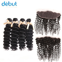 Debut Peruvian Hair Deep Wave 4 Bundles Natural Color 10 26 Inch Hair Bundles With 13X4 Lace Frontal Closure For Black Women