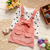 2017 Newborn Baby Girl Cotton Suspender Skirt Heart Shirt Kid Girls Long Sleeve Clothes Set Spring