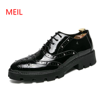 Oxford Shoes for Men 2018 Autumn Carved Brogue Leather Fashion Casual Embossed Thick Bottom Rivets Nightclubs