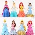 8 unids/lote Disny Princesa Figuras de Acción Del Anime Snow Queen Elsa Anna Estatua Mágica Clip de La Princesa Ariel Muñecas Juguetes Para Niños