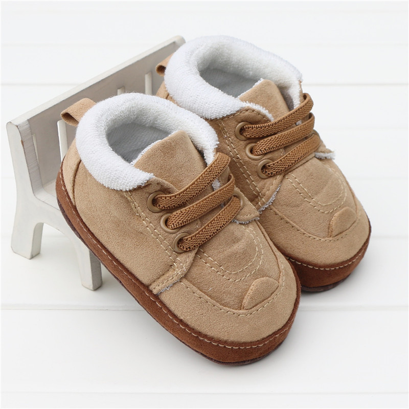 2016 Autumn Winter Khaki Lace Up Baby Boots Warm Cotton Baby Boys Shoes Leisure Toddler  ...