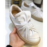 2018 г. новая обувь галстук бабочку декор женские лоферы с круглым носком брендовая Дизайнерская обувь низкие женские на плоской подошве взле