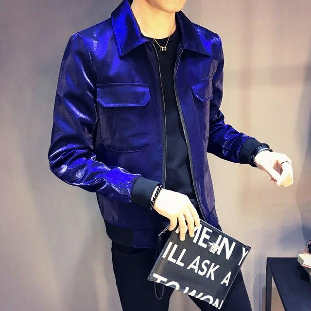 Sharp shinny mens jackets and coats jaqueta masculino Royal blue black grey green stage clothing for singer club party jacket