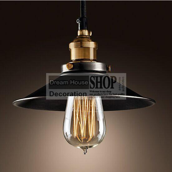 Ferro pintado Retro Campo de luz pendente do vintage Edison Lâmpada 110-240 v Diâmetro: 220mm Retro Pingente lâmpada e27 vindima