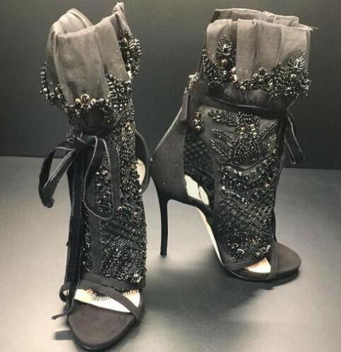 Élégant noir dentelle femmes Peep Toe bottines de luxe noir cristal couverture dames à lacets bottes à talons hauts cheville Bandage bottes