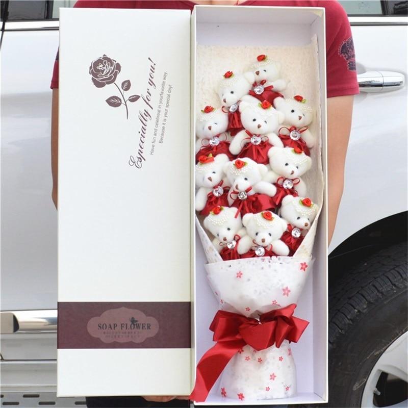 Fashion Cute Stuffed Animal Plush Toy Lovely Cartoon Teddy Bear Flower Bouquet Creative Valentine's Day gifts Christmas gift