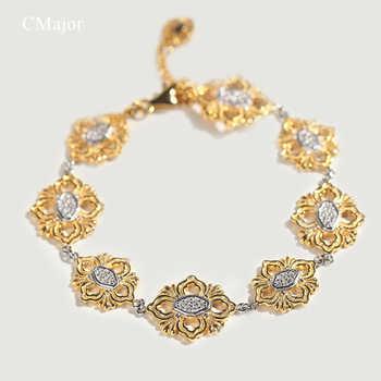 Cmajor S925 Sterling Silver Bracelets Ethnic Vintage Cross Flower Charm Bracelets For Women - DISCOUNT ITEM  0% OFF All Category