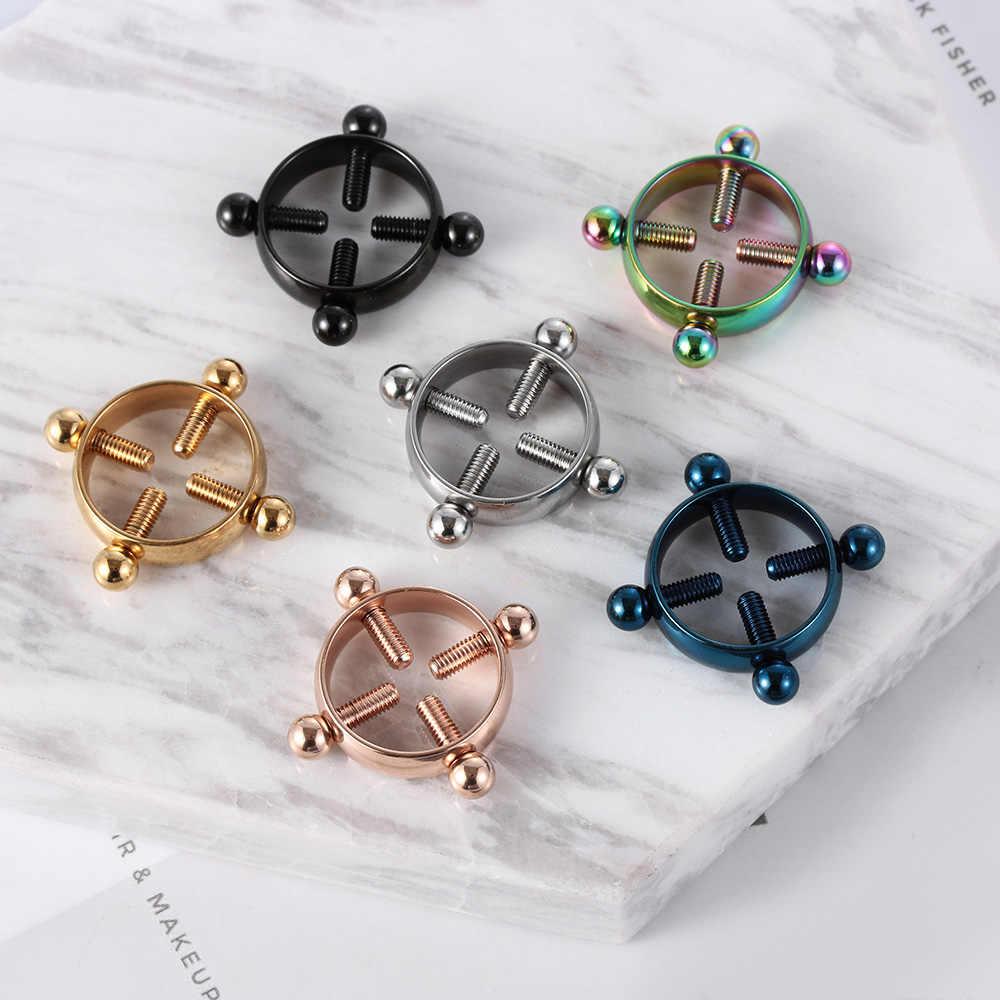 1 Pair Fashion Round Non-Piercing Nipple Ring Shield Body Piercing Jewelry Nickel-free Fake Piercing 316L Surgical Steel