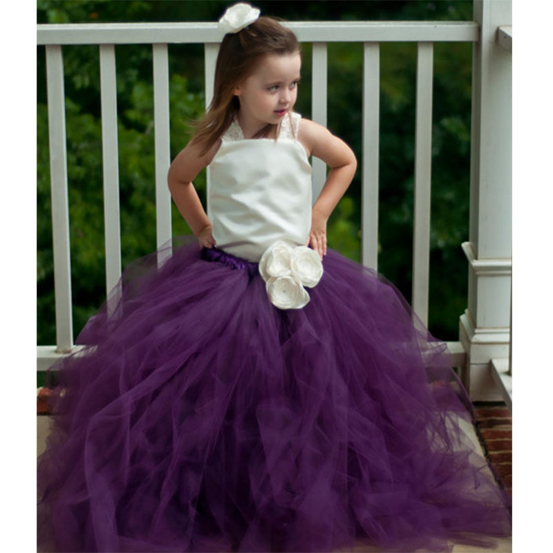Princess Flower Girls Tutu Dress For Wedding Birthday Party Satin Top With Lace Strap Baby Girls Boutique Ball Gown Dresses PT50 princess girl party dress children wedding birthday tutu dress infant lace corchet christening gown baby girls dresses clothes