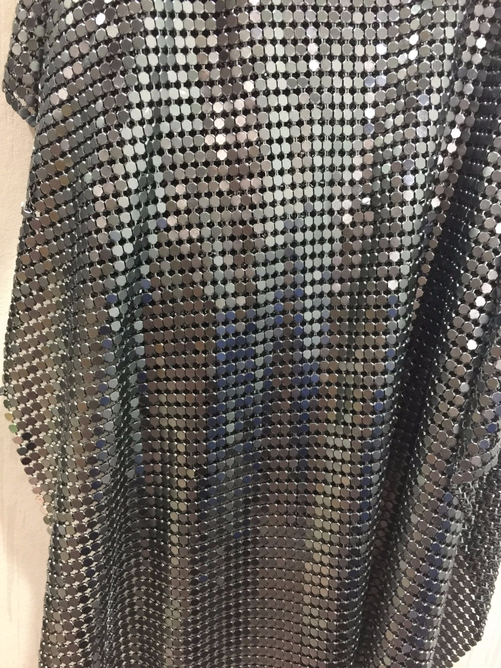 45 150cm High quality Gunmetal metallic metal mesh sequin fabric curtains sexy women evening dress tablecloth