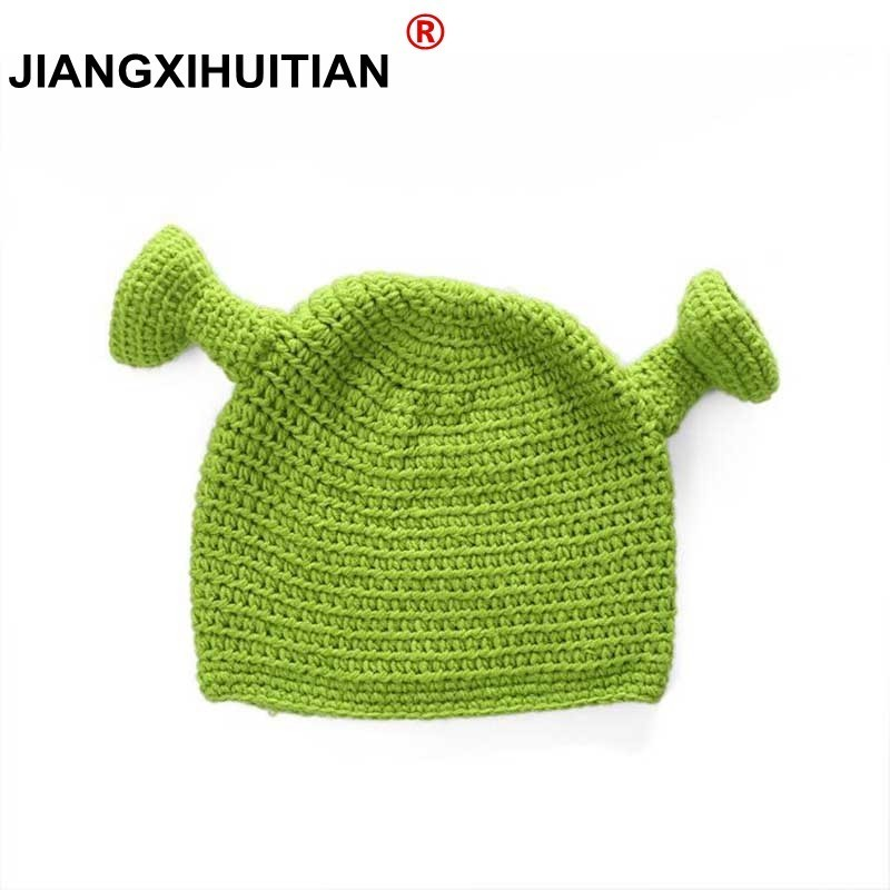 2017 Winter Hats For Women Balaclava Monster Shrek Wool Hat Creative Funny Knitted Hat Pure Hand Winter Cap Men Hat