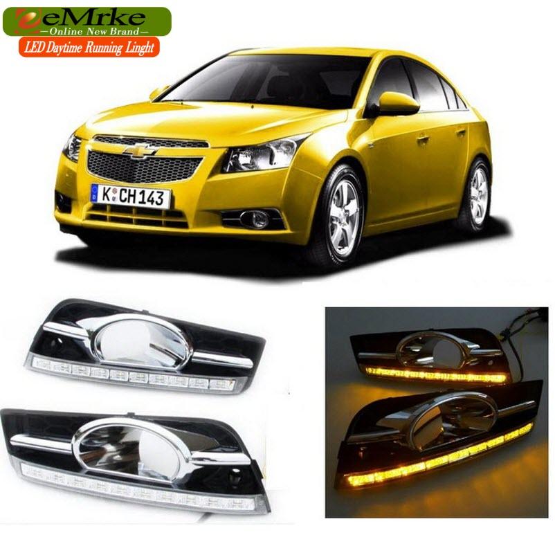 eeMrke Car LED DRL For Chevrolet Cruze J300 High Power Xenon White Fog Cover Daytime Running Lights Kits  недорого