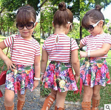 2016 Summer Baby Clothing Set Cotton White Red Stripe Short Sleeve T-Shirt  Top + Floral Skirt 2 Piece Girls Clothing Set