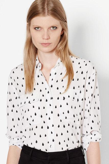 fb479768e6d1e 2 colors NEW EQ 100% silk raindrop ladies long sleeve blouses women shirt  spring autumn