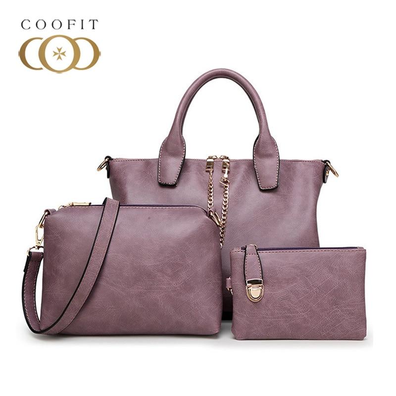 Coofit Stylish Composite Bag 3 Pcs One Set Casual Women Shoulder Bag Office Lady Tote Bag High Quality Leather Women Handbag Sac coofit luxury composite bag set women