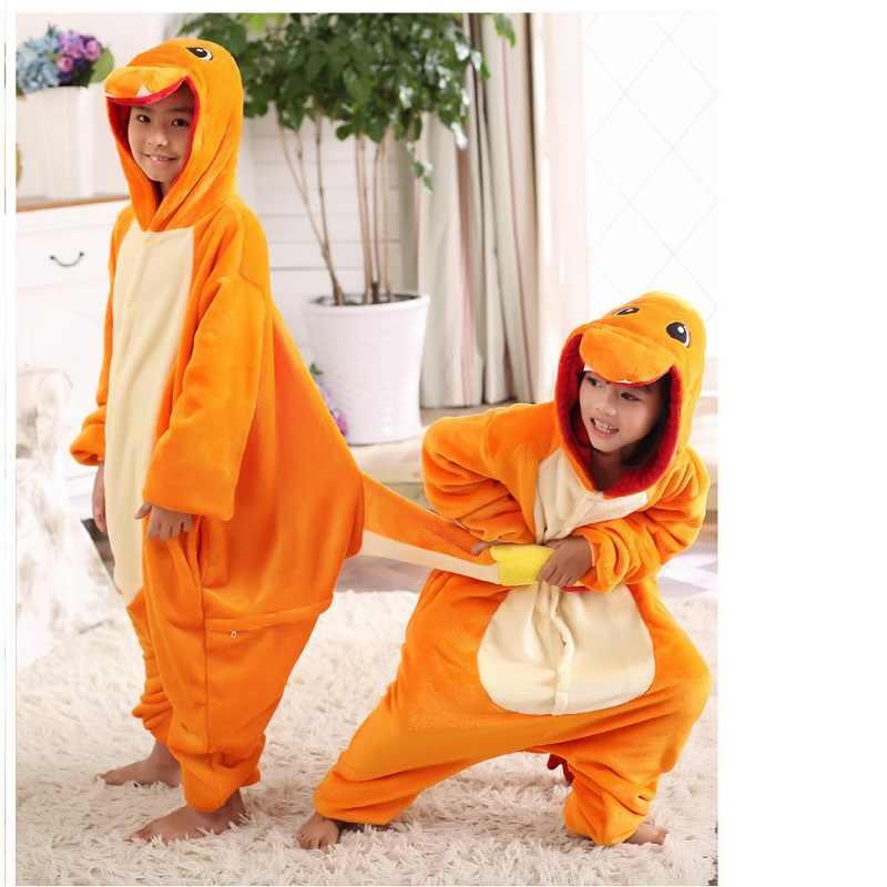 Покемон костюмы пижамы для обувь девочек мальчиков ребенок Покемон  чармандер костюм Толстовка onesie Пикачу дети комбинезоны 692d293a9fbdf