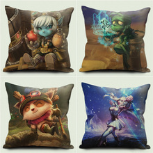 CUSCOV NEW Cushion cover League of legends Pillow Case Cotton Linen Teemo Ashe Amumu role Home Decorative Cover