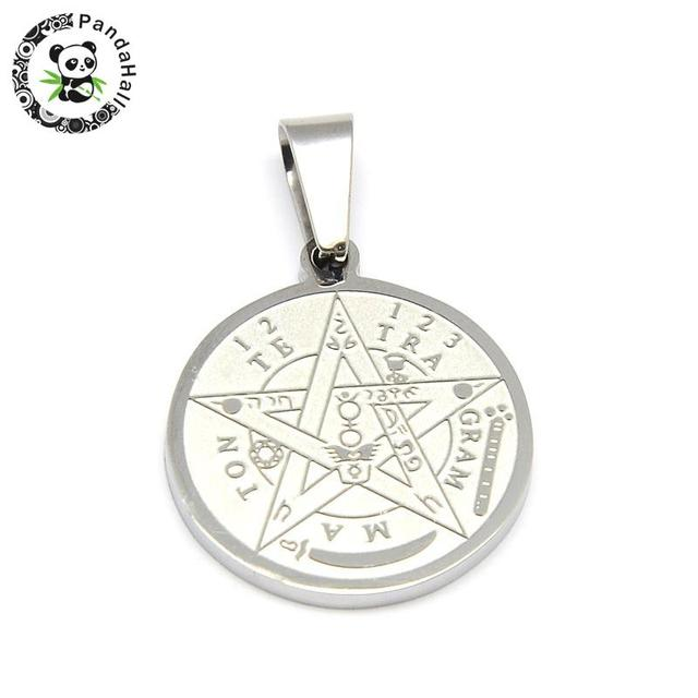 Religion 304 stainless steel flat round carved tetragrammaton religion 304 stainless steel flat round carved tetragrammaton pentagram pendant stainless steel color 27x24x2mm aloadofball Choice Image