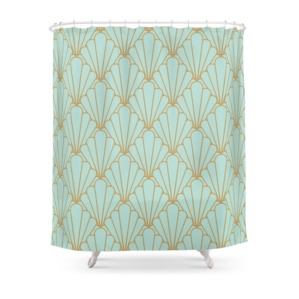 Art Deco Series Mint Green Shower Curtain Polyester Fabric