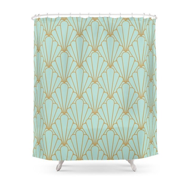 Art Deco Series Mint Green Shower Curtain Polyester Fabric Bathroom Home Decoration Waterproof Print
