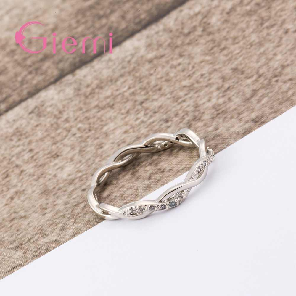 Mỹ Chắc Chắn Nguyên Chất Bạc 925 Nhẫn dành cho Nữ AAA Cubic Zircon Chéo Xoắn Xếp Chồng Cưới Đính Hôn Trang Sức