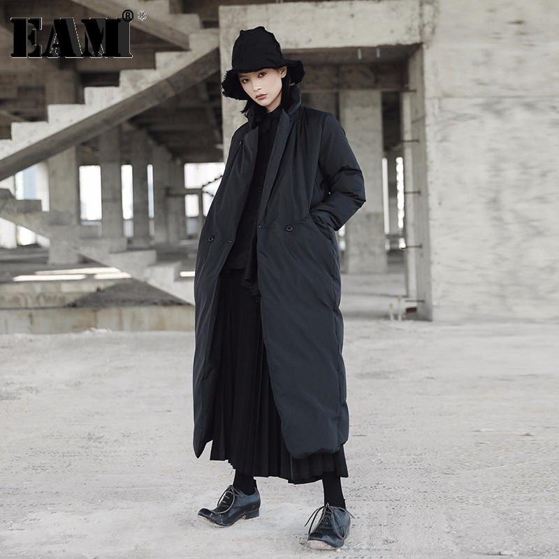 [EAM]2020 New Spring Stand Collar Long Sleeve Solid Color Black Vent Cotton-padded Big Size Coat Women Fashion Tide JD16