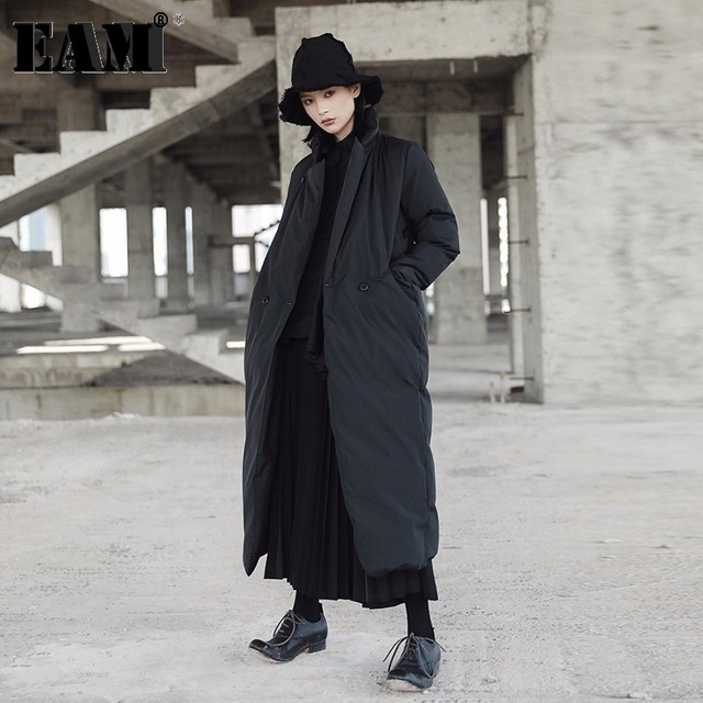 [EAM]2020 New Spring Stand Collar Long Sleeve Solid Color Black Vent Cotton padded Big Size Coat Women Fashion Tide JD16