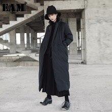 [EAM]2020 nowa wiosna stojak kołnierz z długim rękawem Solid Color czarny Vent bawełny wyściełane płaszcz w dużym rozmiarze kobiety moda fala JD16