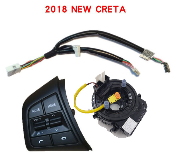 3Pcs For HYUNDAI Creta 2017 ix25 2018 steering wheel Line left music button 93490C1210 93490 C1210 Cable Control Clock for hyundai ix25 2 0l steering wheel control supervision panel button without clock spring creta english pattern version heating