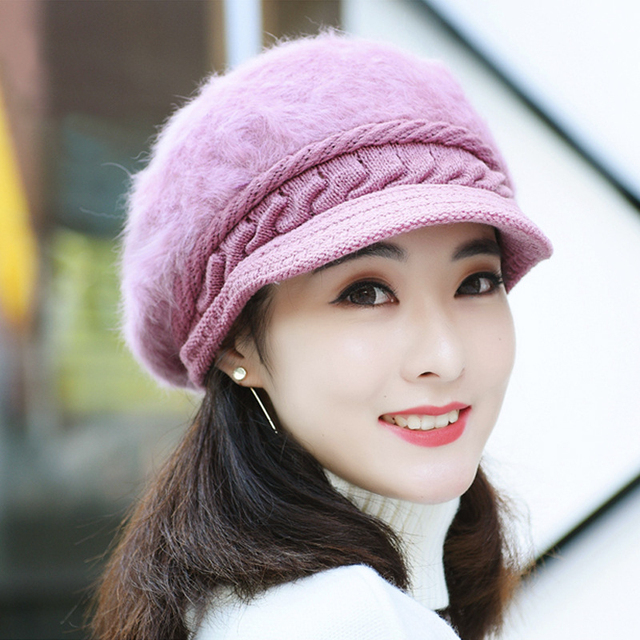 c04baad8668 HT1914 Women Autumn Winter Hats Korea Style Rabbit Fur Newsboy Caps Beret  Hat Ladies Solid Knitted Hats Casual Warm Women Berets
