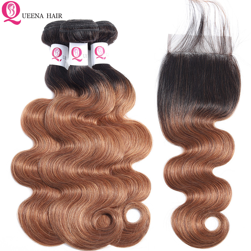 Grade 8A Brazilian Body Wave Hair Weave Ombre Bundles With Closure Baby Hair 1B 30 Colored Ombre Human Hair Bundles With Closure