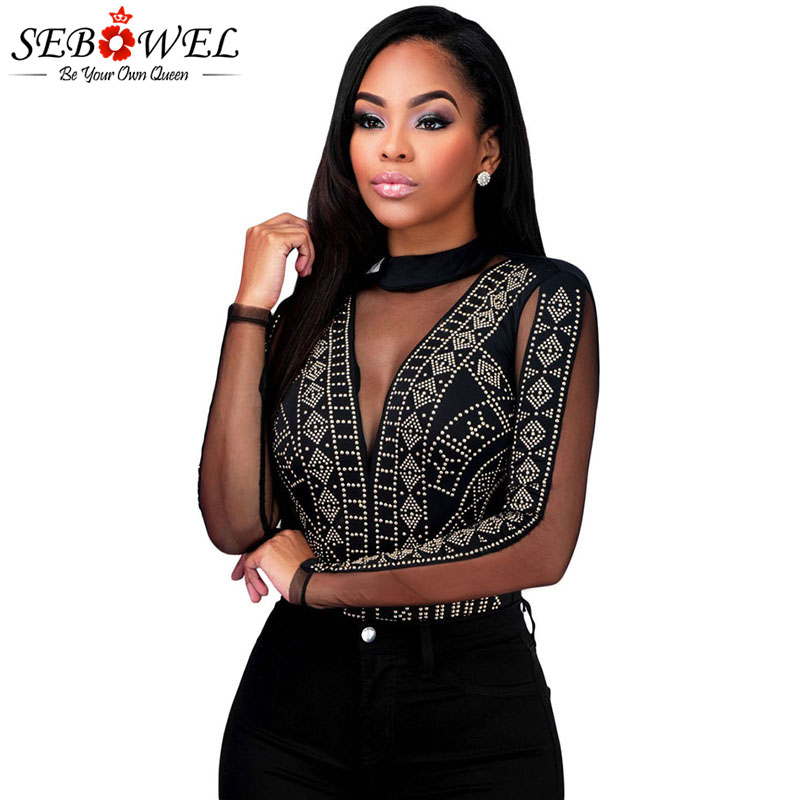 SEBOWEL Black/White Rhinestone Open Back Bodysuits Woman Sexy Style Long Sleeve Spring Autumn Lace Sheer Female Body Top Clothes