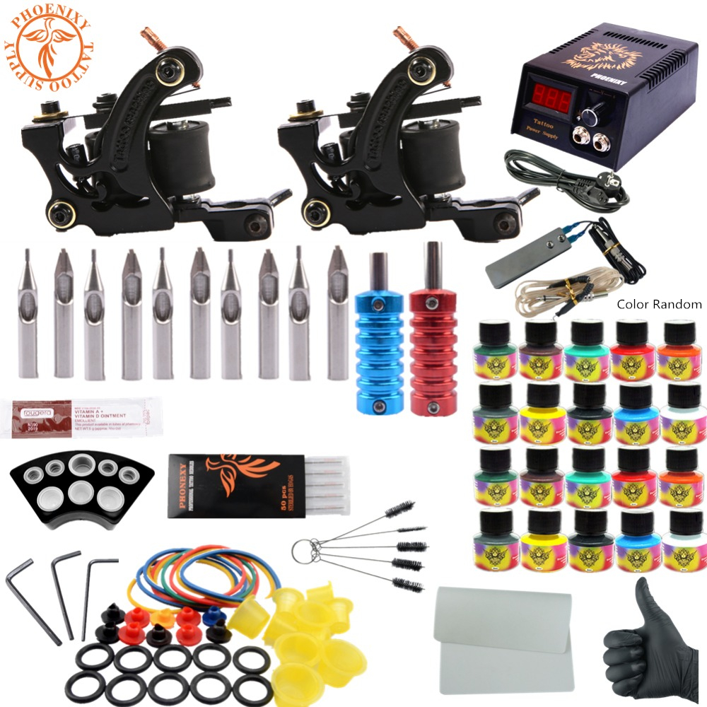 Completed Tattoo Kit 20 Color Tattoo Ink Set 2 Machines Set Black Power Supply Needles Permanent Make Up Professional Tattoo Kit professional tattoo kits liner and shader machines immortal ink needles sets power supply