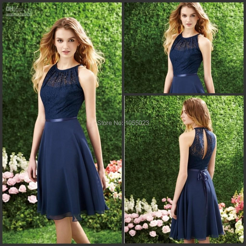 Us 89 0 Wholesale Short Navy Blue Halter High Neck Cutout Back Lace Chiffon Beach Bridesmaid Gown Knee Length Cheap Wedding Guest Dress In