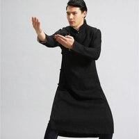 Pure Linen Retro Men S Long Trench Top Quality Ip Man Robe Windbreaker Wing Chun Kung