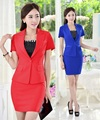 Formal Red Plus Size Uniform Style Business Work Suits Jackets And Skirt  2015 Summer Ladies Office Beautician Sets Blazers