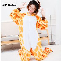JINUO Anime Cosplay Onesies Sleepwear Winter Unisex Party Cosplay Animal Pijama Flannel Cartoon Adult Giraffe Pajamas
