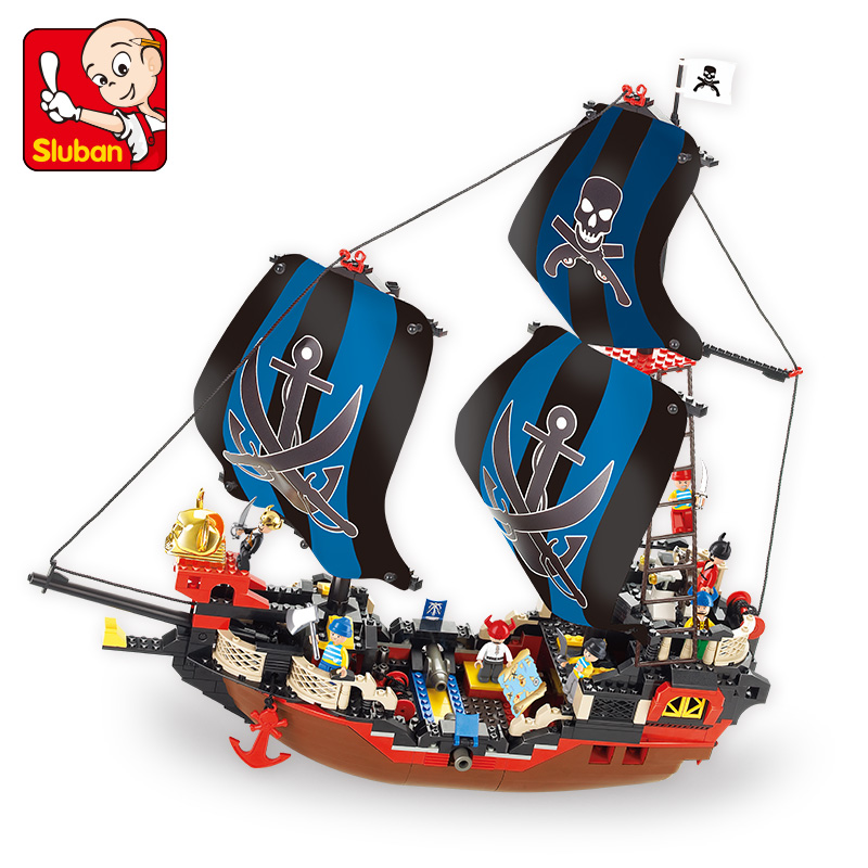 Sluban Modeling Building Blocks Toys for Children Pirates of the Caribbean Cooks Sailboat Team Scene Assemble Construction Toy