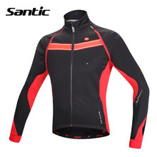 SANTIC Cycling Jerseys Long Sleeve Bike Jackets Winter Fleece Mens Bike Thermal Cycling Clothes Windproof ciclismo Jersey