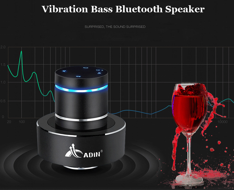 ADIN Metal 26W Vibration Bluetooth Speaker With NFC Touch HIFI Subwoofer And 360 Stereo Super Bass 4
