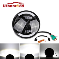Fishberg 1PC 6000k 60w 12v 7 Inch Led Headlights Round With DRL Headlamp Hi Lo Beam