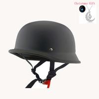 Unisex DOT Retro Motorcycle Helmets Matte Black German Half Face Helmet Chopper Cruiser Biker Head Protection Motor Hats M/L/XL