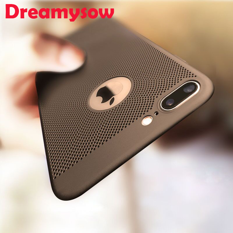 for iPhone 7 5 5S SE case Ultra Slim Grid Heat Dissipate Phone Case For iPhone 6 S 6S Plus Luxury Matte Hard PC Protective Cover