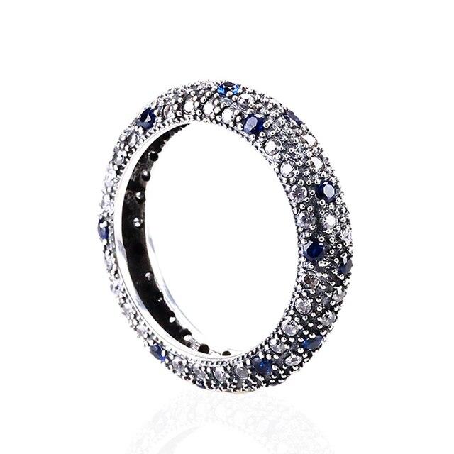 Аутентичные 925 Серебряное Кольцо Свадьба Кольца с Голубой CZ Полный Кристалл Кольца Fit Пандора Женщины Свадьба R42
