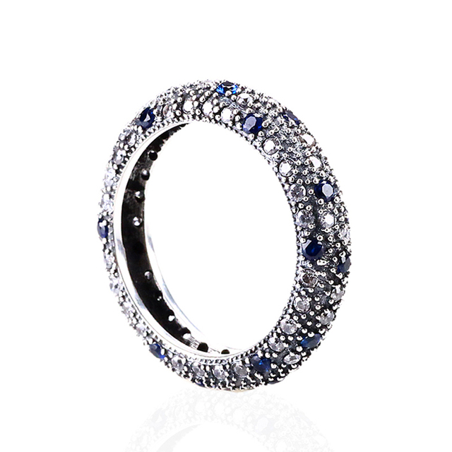 Authentic 925 Sterling Silver Ring Wedding Party Rings with Blue CZ Full Crystal  Rings Fit Pandora Women Wedding R42